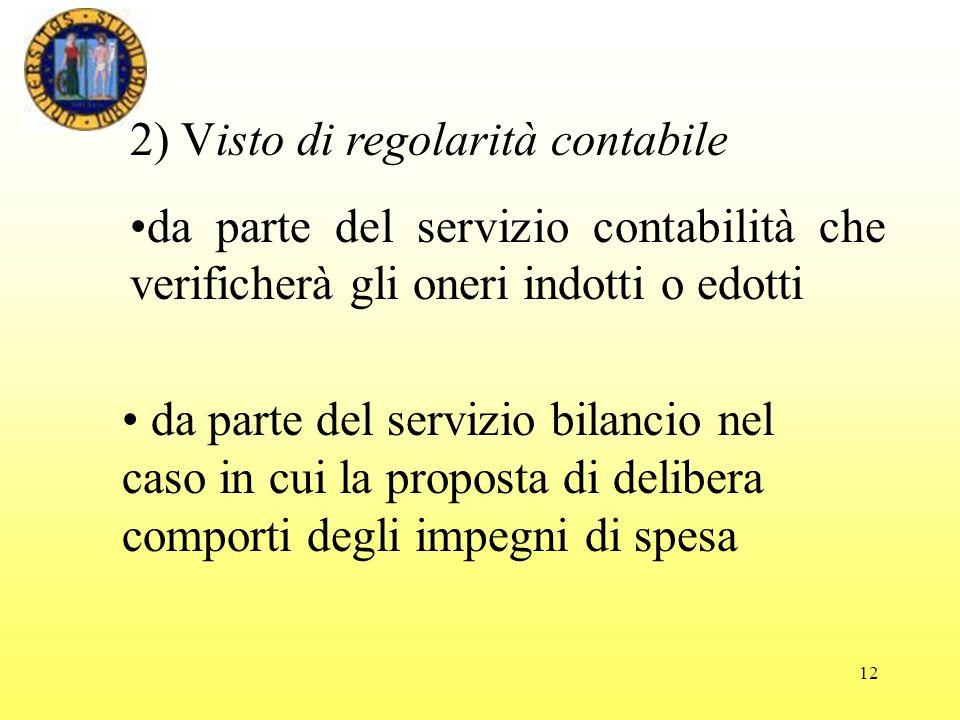 2) Visto di regolarità contabile