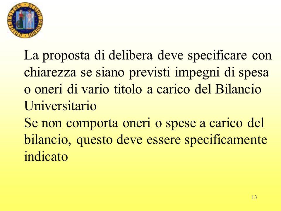 La proposta di delibera deve specificare con chiarezza se siano previsti impegni di spesa o oneri di vario titolo a carico del Bilancio Universitario
