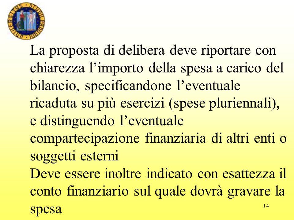 La proposta di delibera deve riportare con chiarezza l'importo della spesa a carico del bilancio, specificandone l'eventuale ricaduta su più esercizi (spese pluriennali), e distinguendo l'eventuale compartecipazione finanziaria di altri enti o soggetti esterni