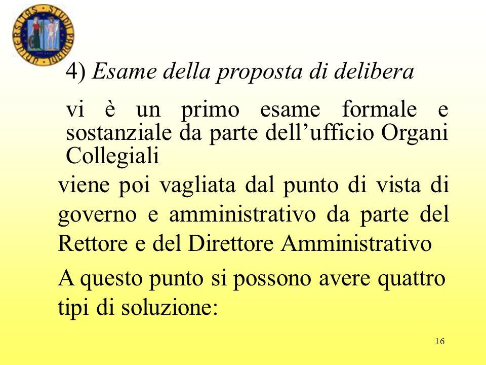 4) Esame della proposta di delibera