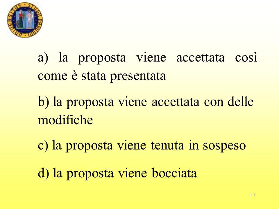 a) la proposta viene accettata così come è stata presentata