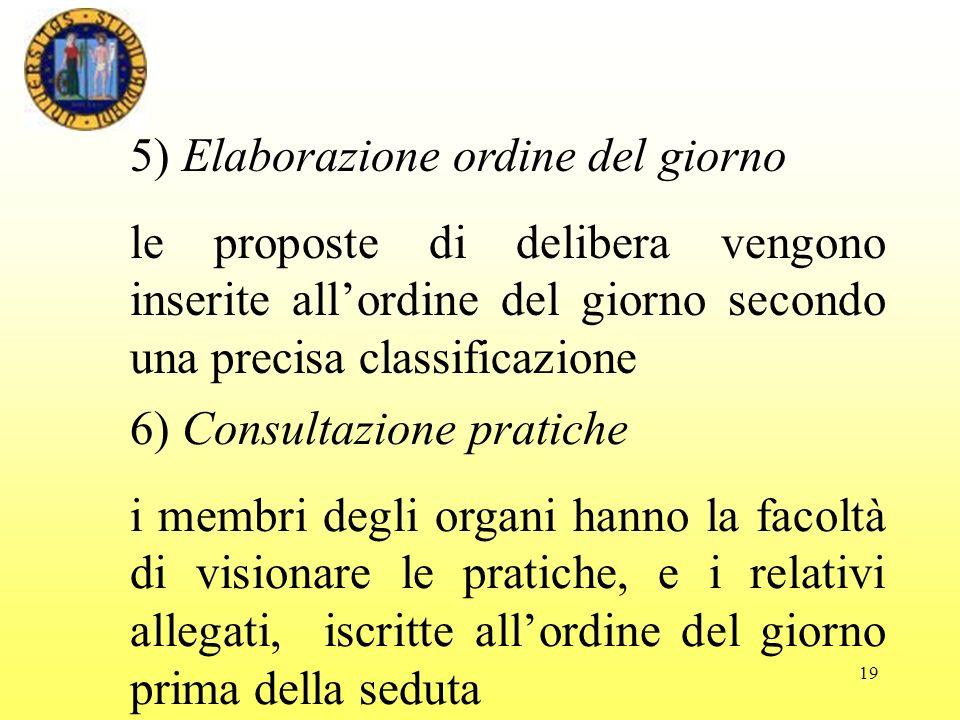 5) Elaborazione ordine del giorno