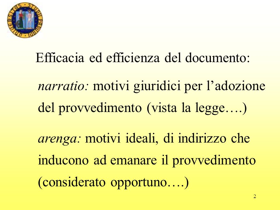Efficacia ed efficienza del documento: