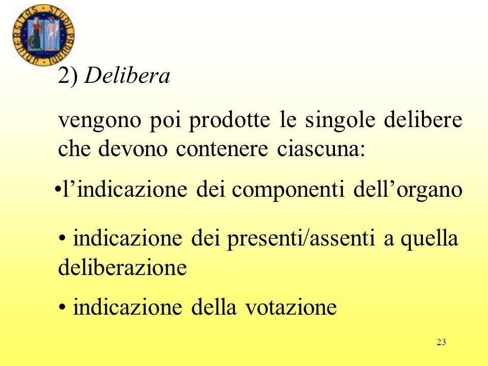 2) Delibera vengono poi prodotte le singole delibere che devono contenere ciascuna: l'indicazione dei componenti dell'organo.