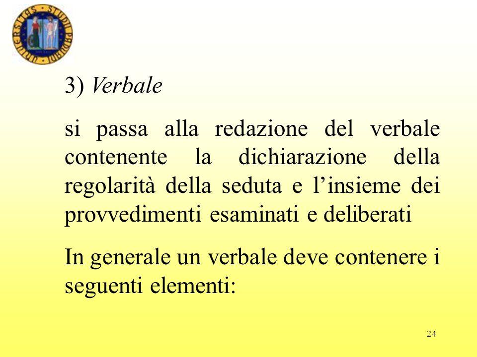 3) Verbale