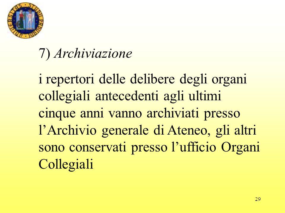 7) Archiviazione