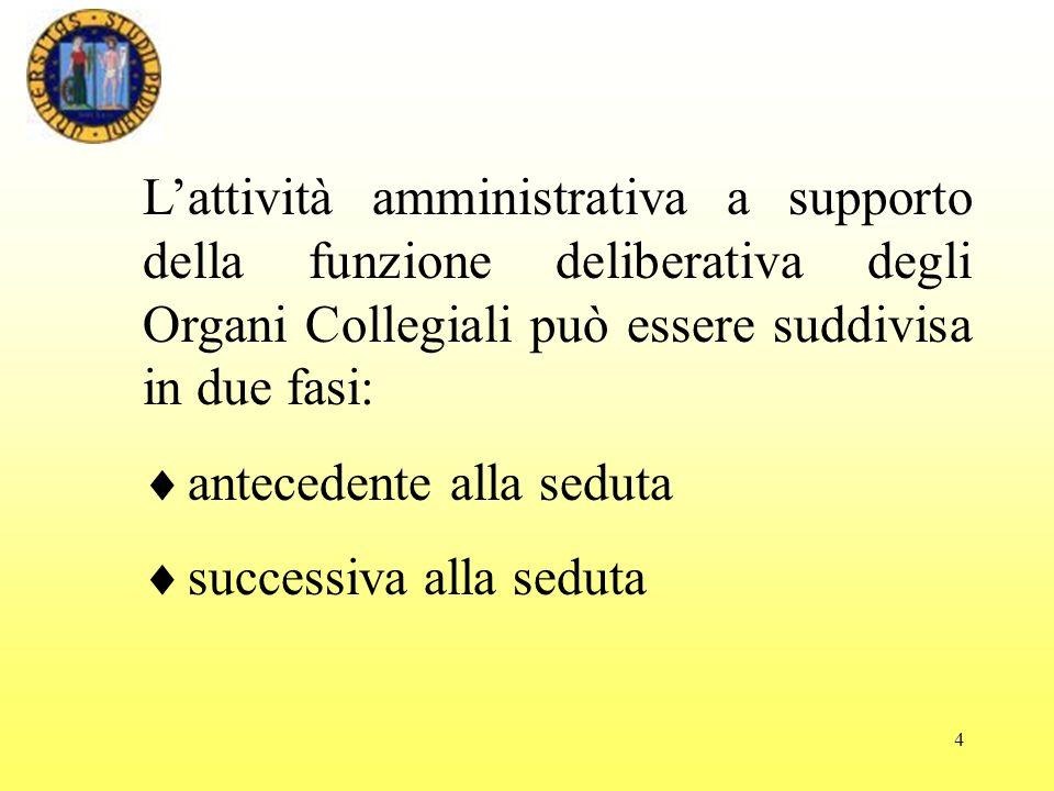 L'attività amministrativa a supporto della funzione deliberativa degli Organi Collegiali può essere suddivisa in due fasi: