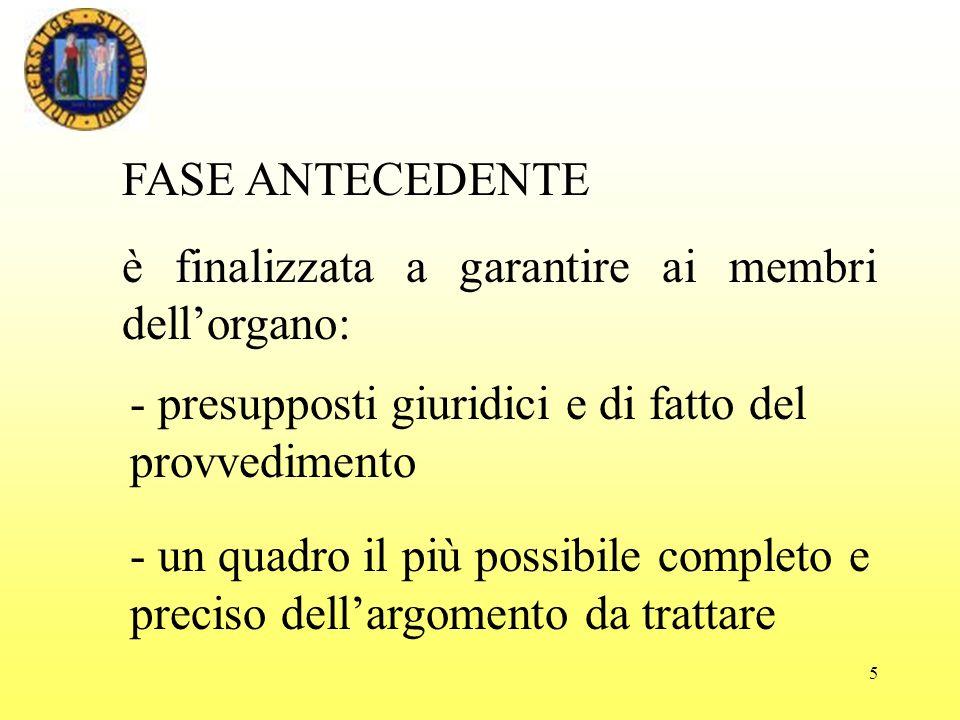 FASE ANTECEDENTE è finalizzata a garantire ai membri dell'organo: - presupposti giuridici e di fatto del provvedimento.