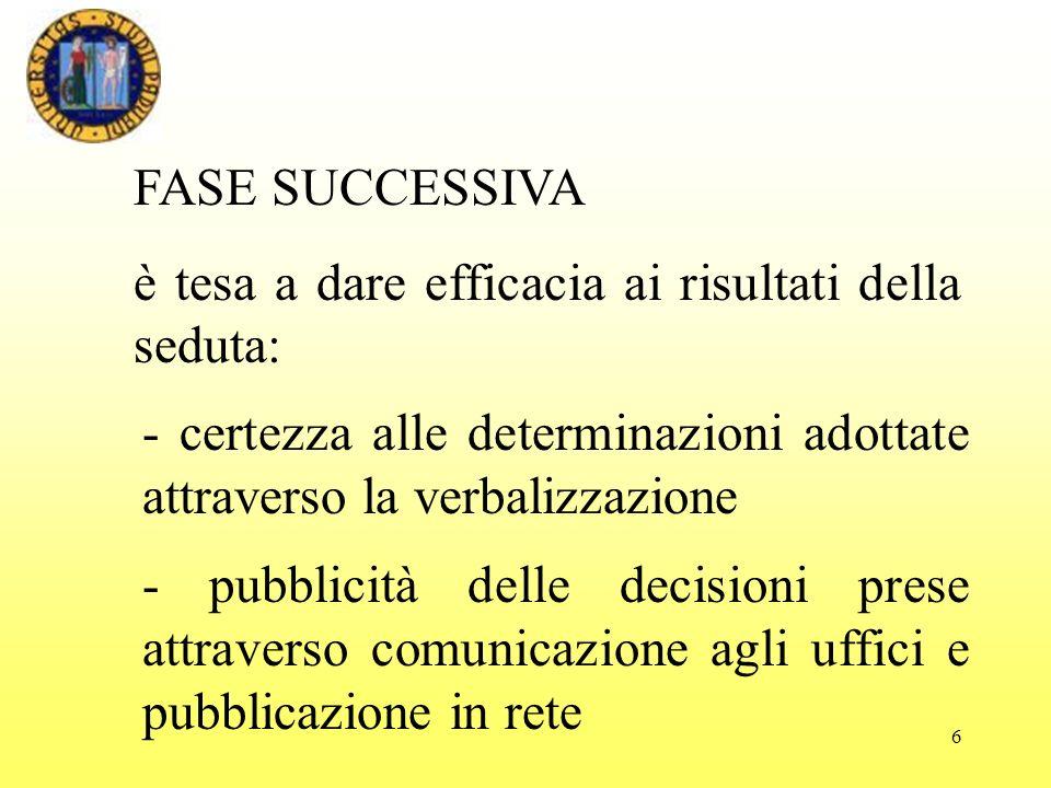 FASE SUCCESSIVA è tesa a dare efficacia ai risultati della seduta: - certezza alle determinazioni adottate attraverso la verbalizzazione.
