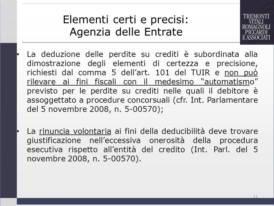 Elementi certi e precisi: Agenzia delle Entrate