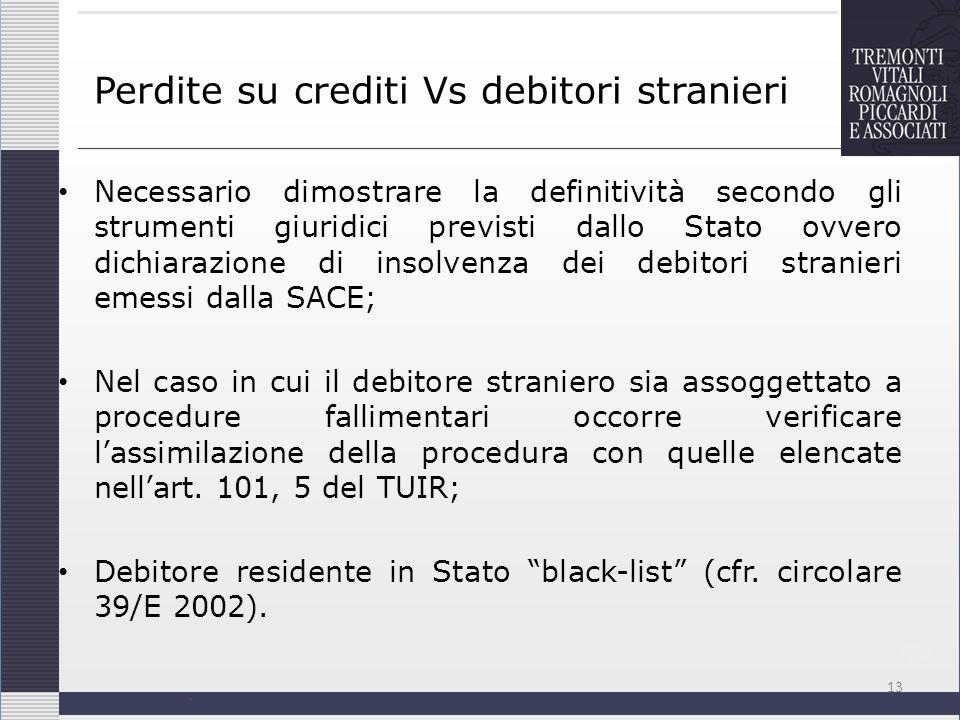 Perdite su crediti Vs debitori stranieri