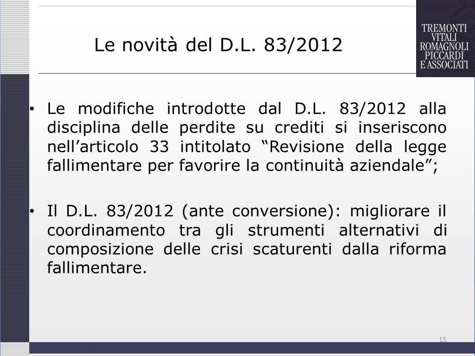 Le novità del D.L. 83/2012