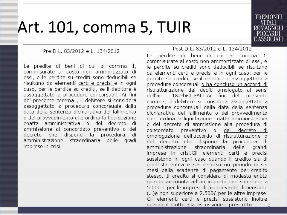 Art. 101, comma 5, TUIR