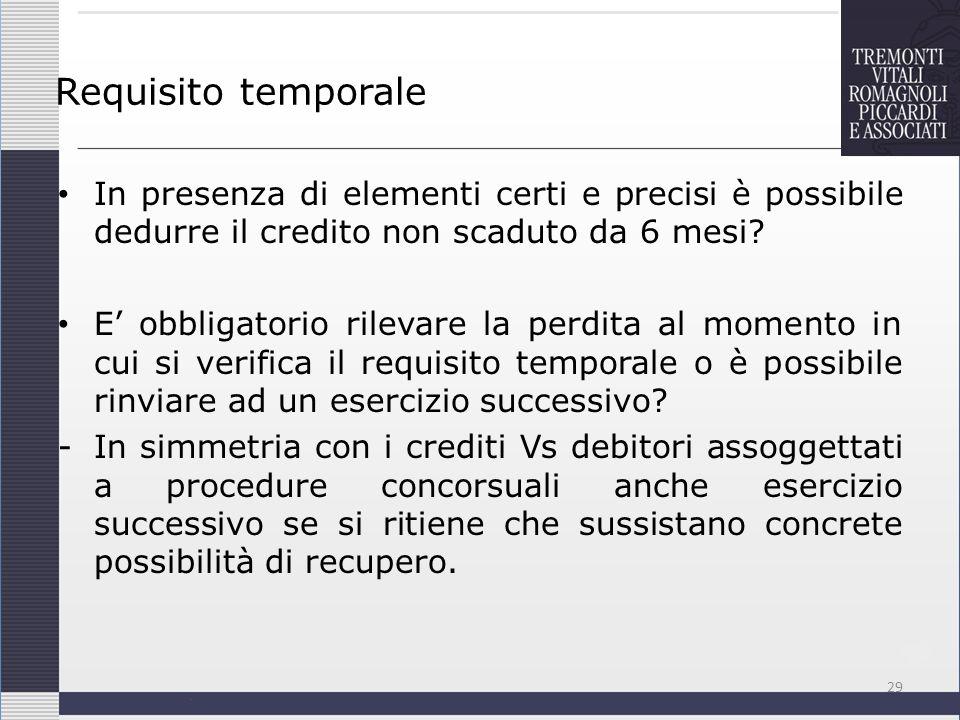 Requisito temporale In presenza di elementi certi e precisi è possibile dedurre il credito non scaduto da 6 mesi
