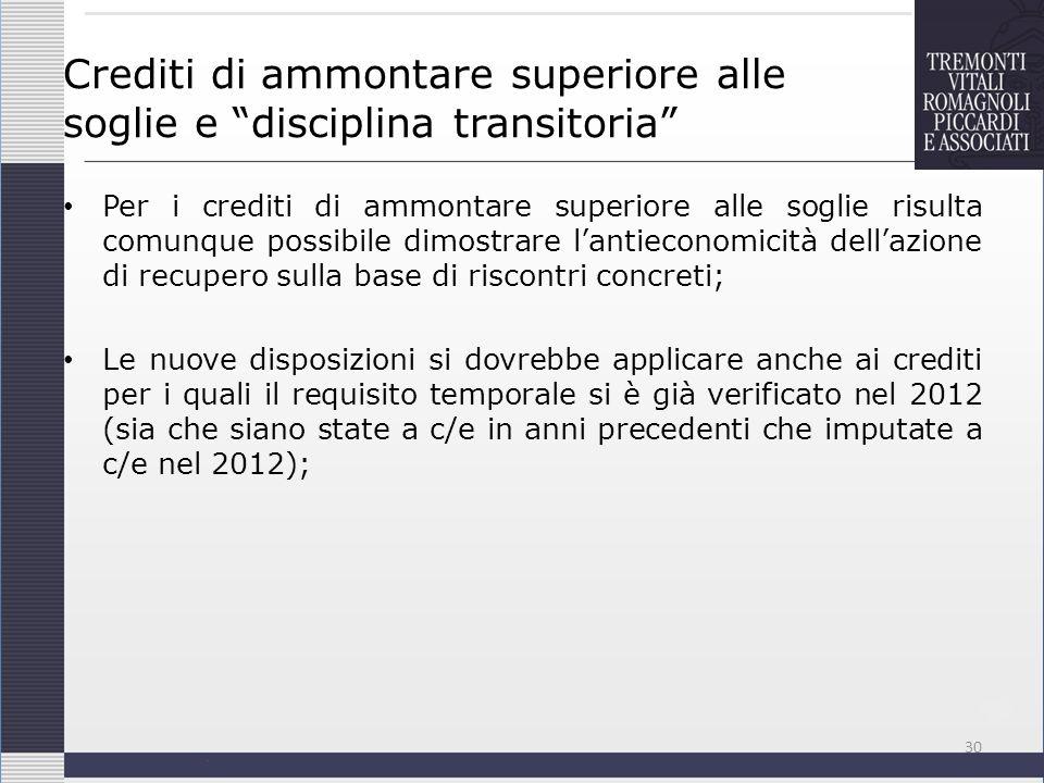 Crediti di ammontare superiore alle soglie e disciplina transitoria