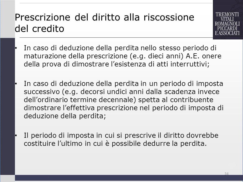 Prescrizione del diritto alla riscossione del credito