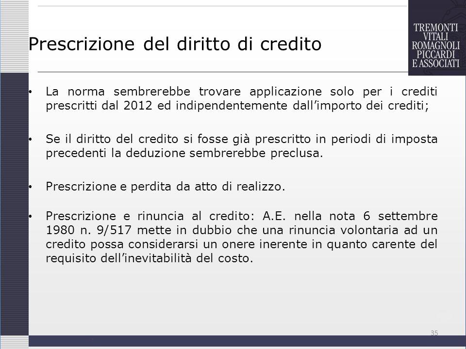 Prescrizione del diritto di credito