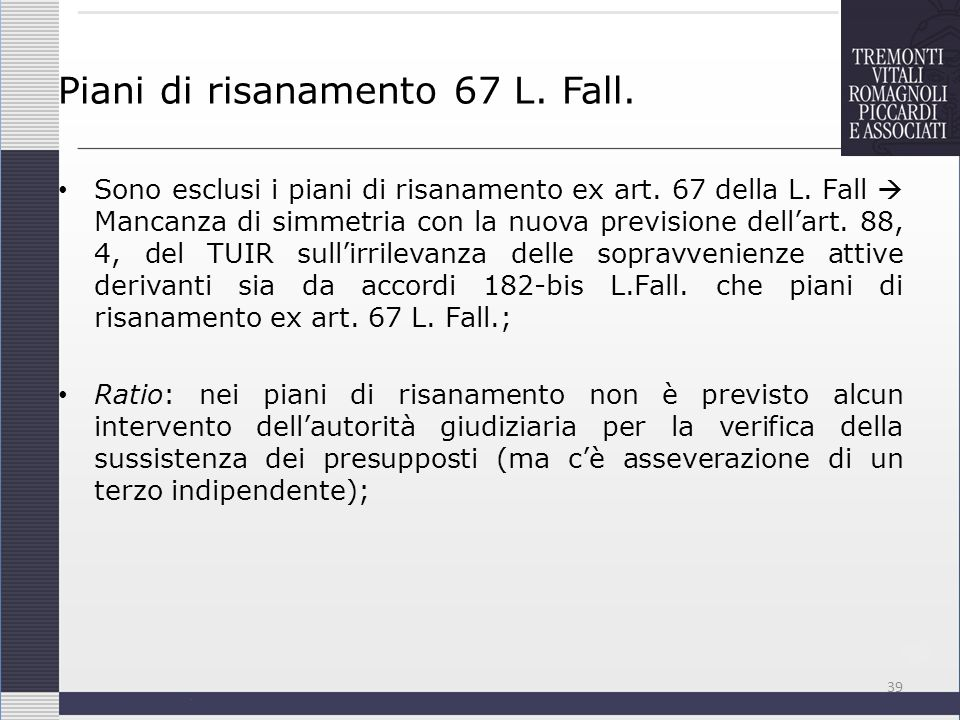 Piani di risanamento 67 L. Fall.