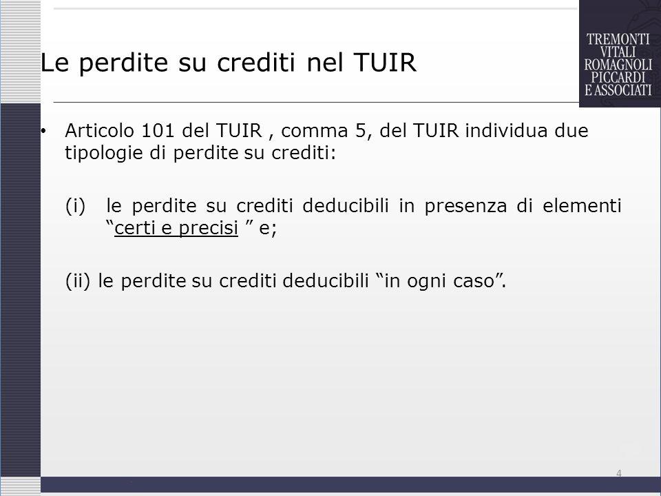 Le perdite su crediti nel TUIR