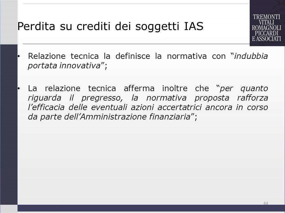 Perdita su crediti dei soggetti IAS