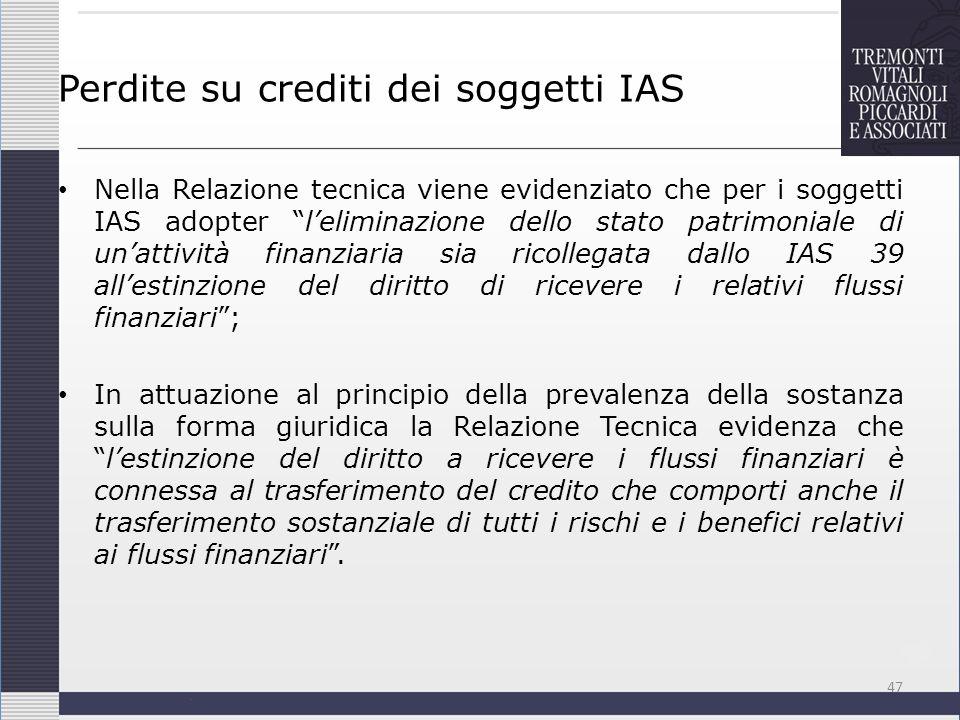 Perdite su crediti dei soggetti IAS