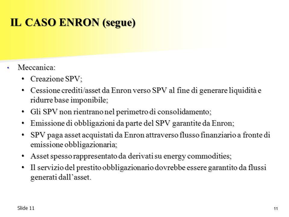 IL CASO ENRON (segue) Meccanica: Creazione SPV;