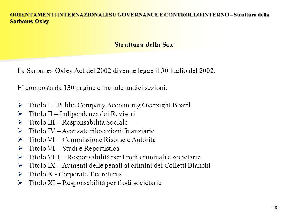La Sarbanes-Oxley Act del 2002 divenne legge il 30 luglio del 2002.