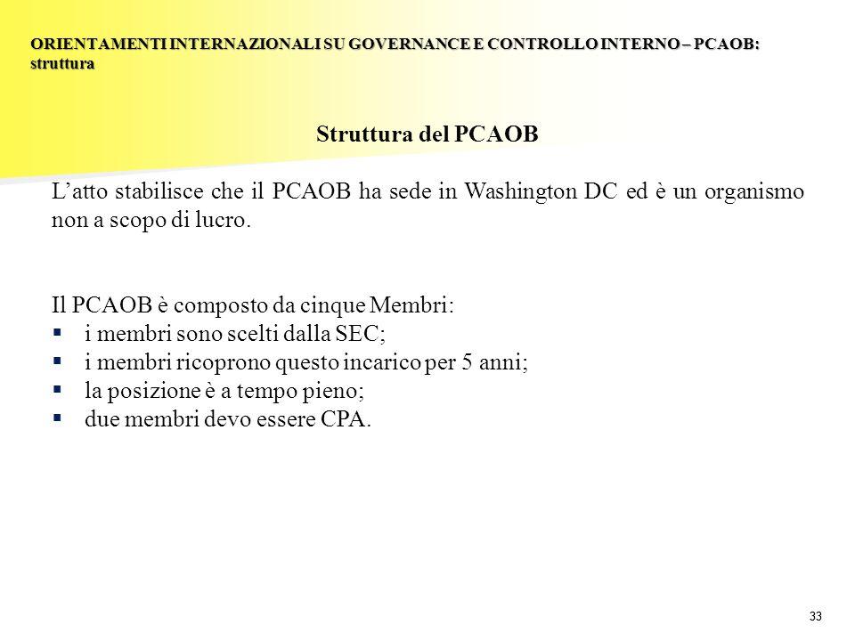 Il PCAOB è composto da cinque Membri: i membri sono scelti dalla SEC;