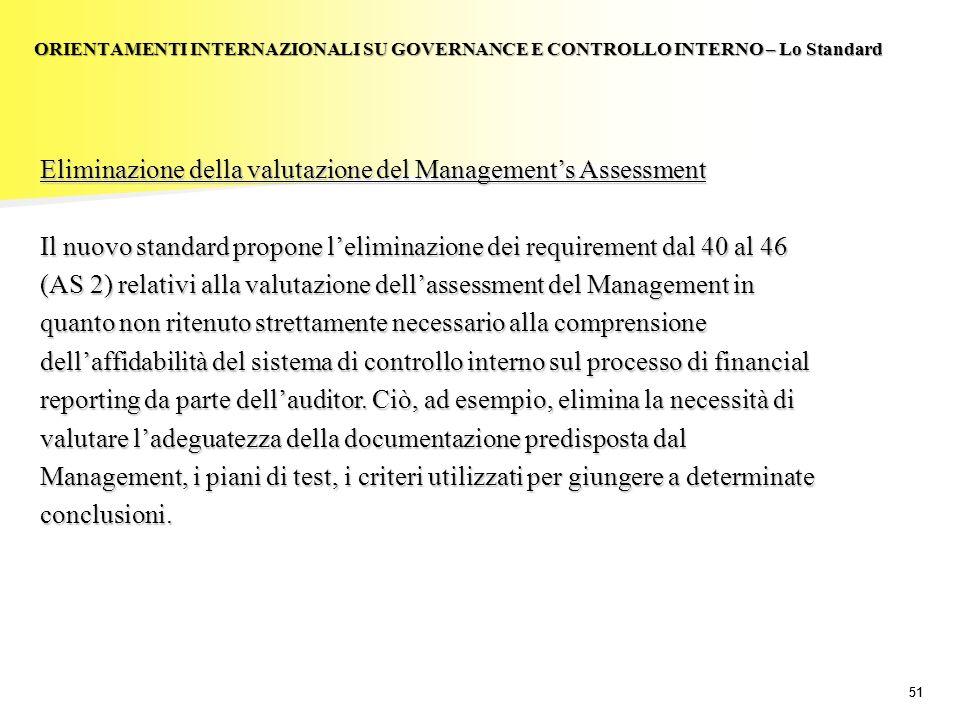 Eliminazione della valutazione del Management's Assessment