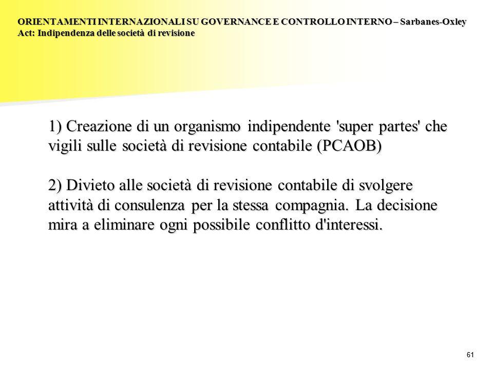 ORIENTAMENTI INTERNAZIONALI SU GOVERNANCE E CONTROLLO INTERNO – Sarbanes-Oxley Act: Indipendenza delle società di revisione