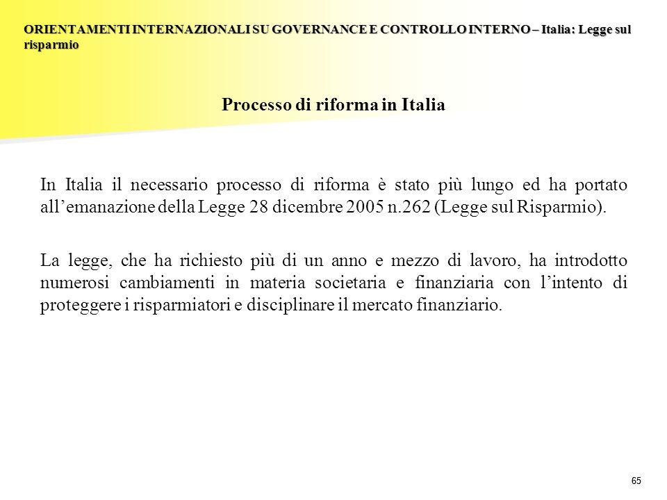 ORIENTAMENTI INTERNAZIONALI SU GOVERNANCE E CONTROLLO INTERNO – Italia: Legge sul risparmio