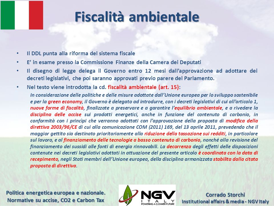 Institutional affairs & media - NGV Italy