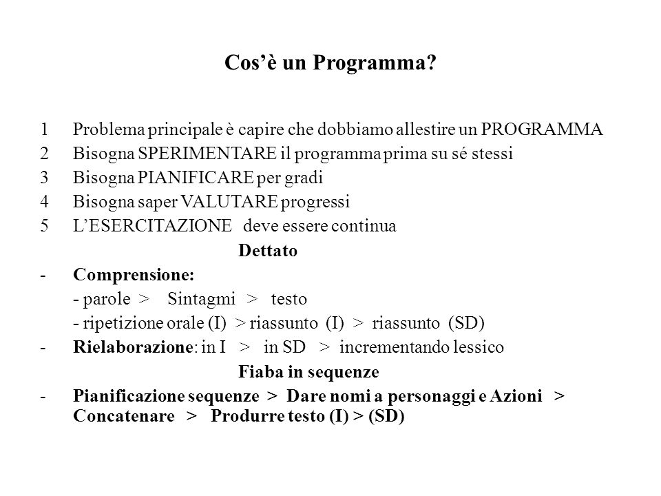 Cos'è un Programma Problema principale è capire che dobbiamo allestire un PROGRAMMA. Bisogna SPERIMENTARE il programma prima su sé stessi.