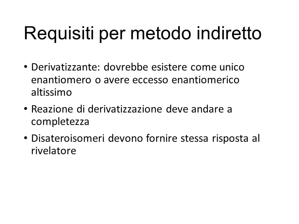 Requisiti per metodo indiretto