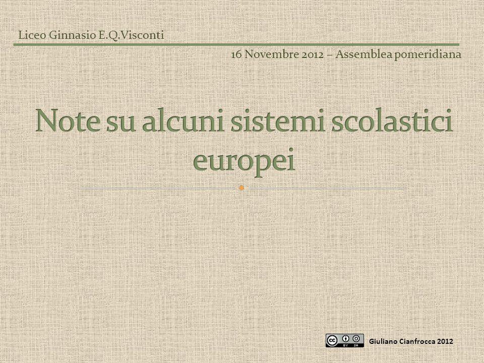 Note su alcuni sistemi scolastici europei