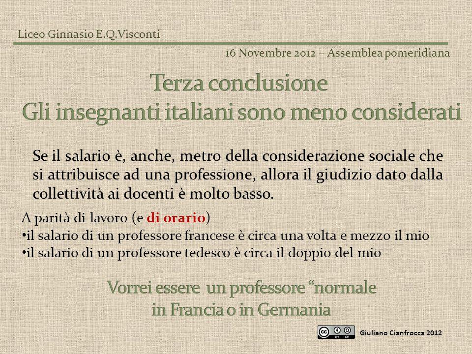 Gli insegnanti italiani sono meno considerati