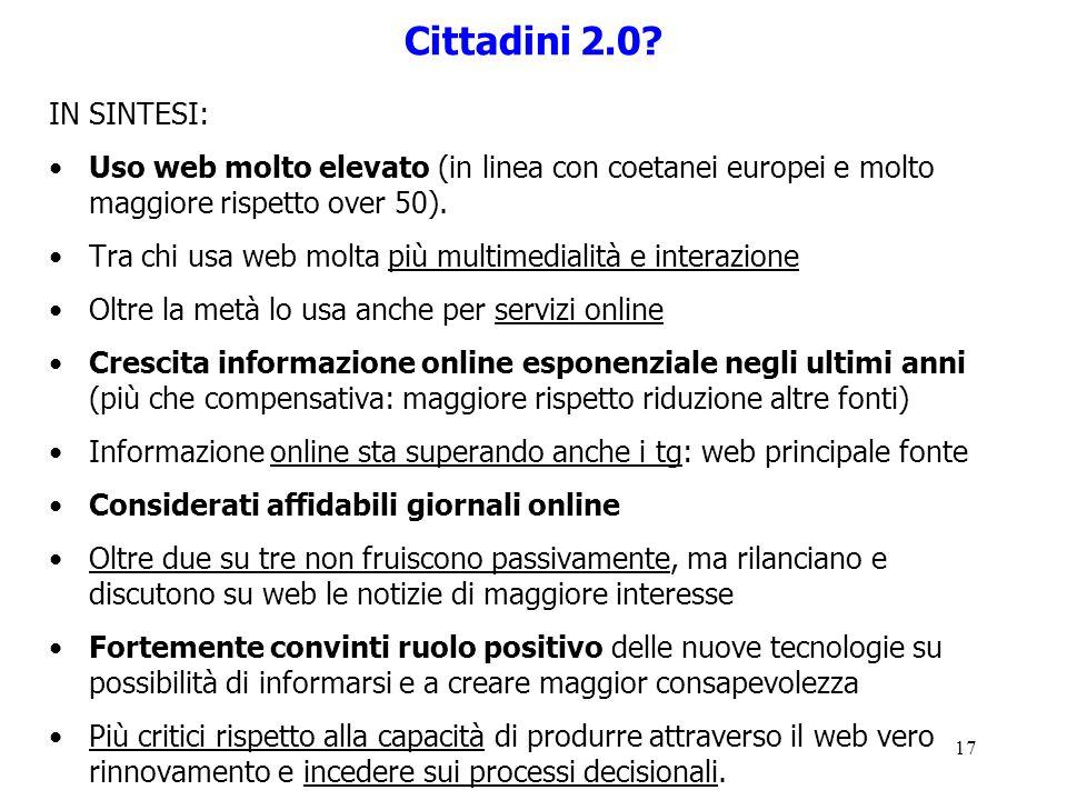 Cittadini 2.0 IN SINTESI: Uso web molto elevato (in linea con coetanei europei e molto maggiore rispetto over 50).