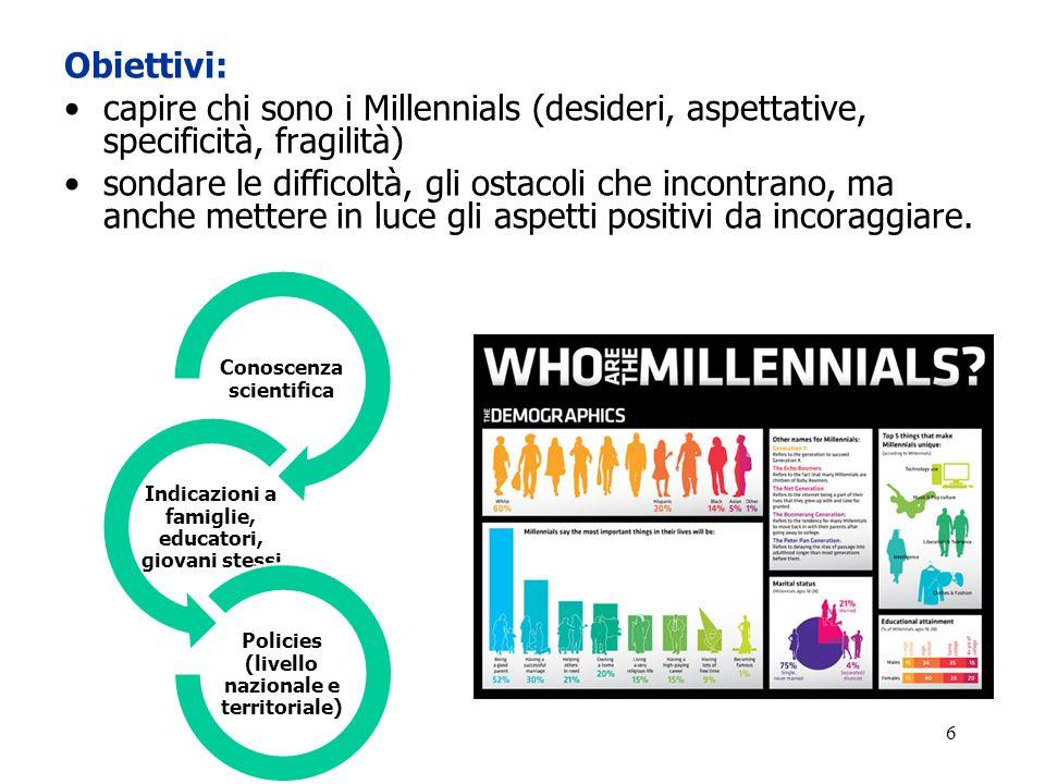 Obiettivi: capire chi sono i Millennials (desideri, aspettative, specificità, fragilità)