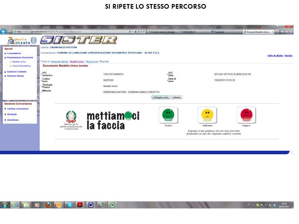 SI RIPETE LO STESSO PERCORSO
