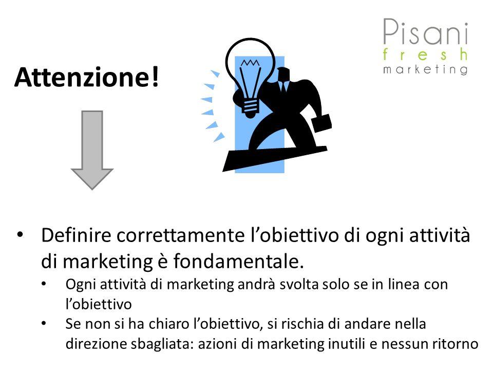 Attenzione! Definire correttamente l'obiettivo di ogni attività di marketing è fondamentale.
