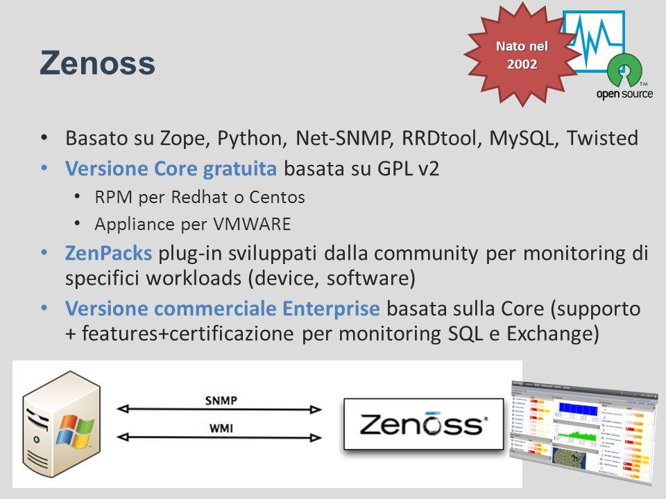 Zenoss Basato su Zope, Python, Net-SNMP, RRDtool, MySQL, Twisted