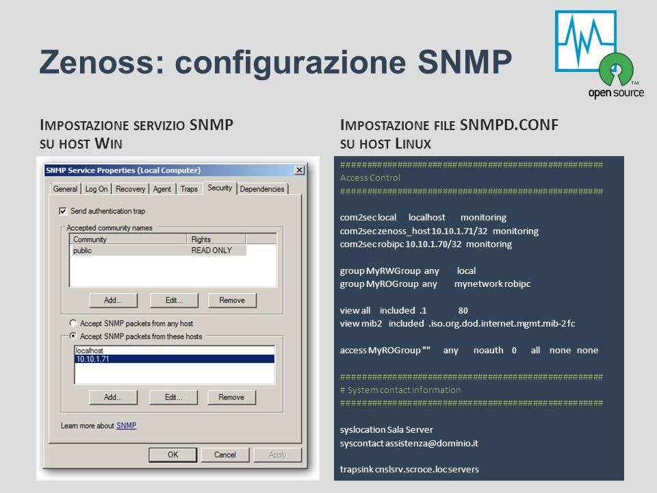 Zenoss: configurazione SNMP