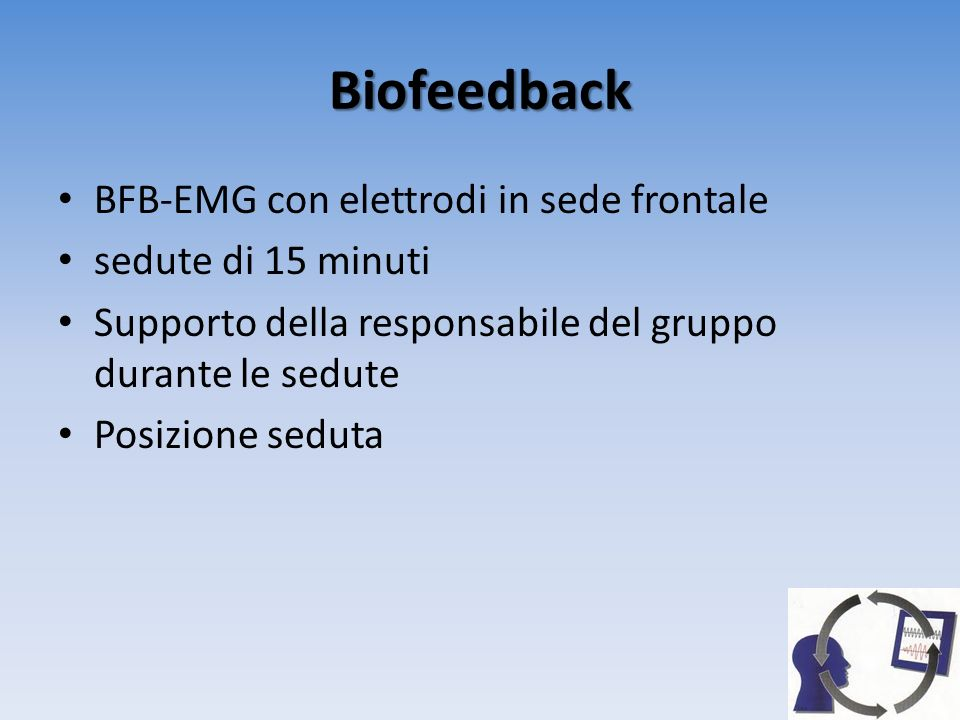 Biofeedback BFB-EMG con elettrodi in sede frontale sedute di 15 minuti