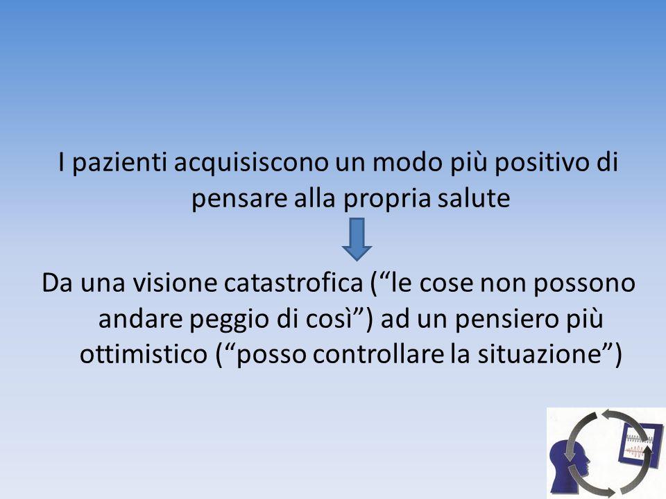 I pazienti acquisiscono un modo più positivo di pensare alla propria salute Da una visione catastrofica ( le cose non possono andare peggio di così ) ad un pensiero più ottimistico ( posso controllare la situazione )