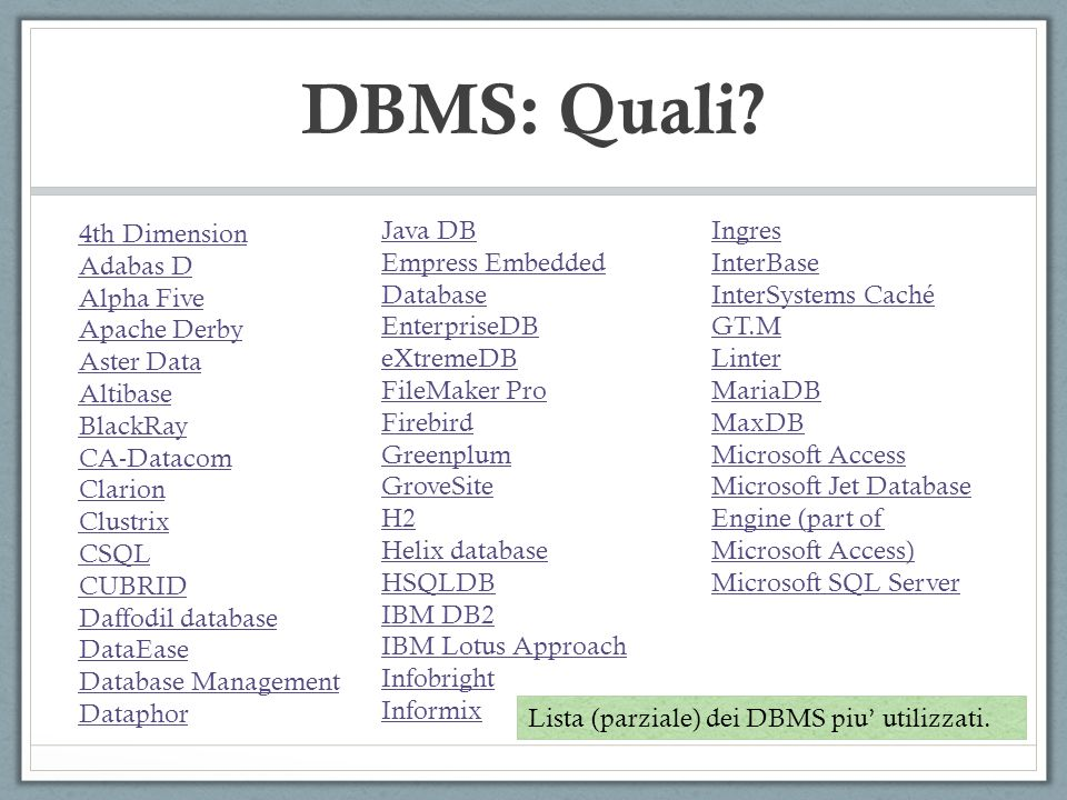 DBMS: Quali 4th Dimension Adabas D Alpha Five Apache Derby Aster Data