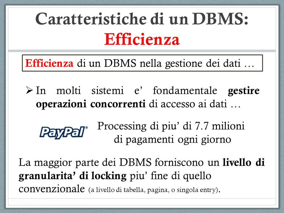 Caratteristiche di un DBMS: Efficienza