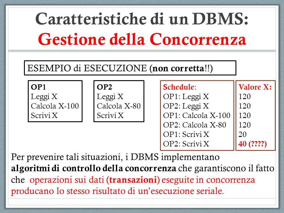 Caratteristiche di un DBMS: Gestione della Concorrenza