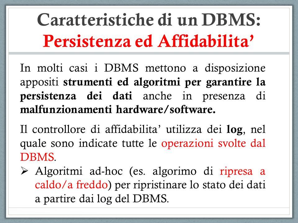 Caratteristiche di un DBMS: Persistenza ed Affidabilita'