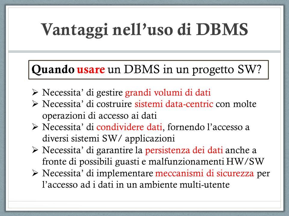 Vantaggi nell'uso di DBMS