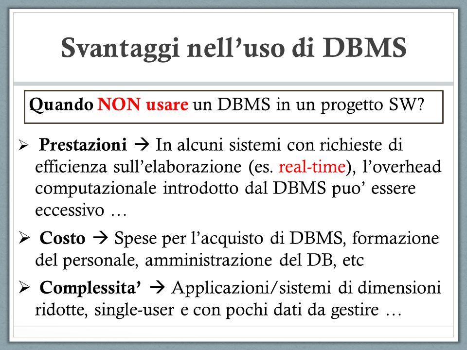 Svantaggi nell'uso di DBMS